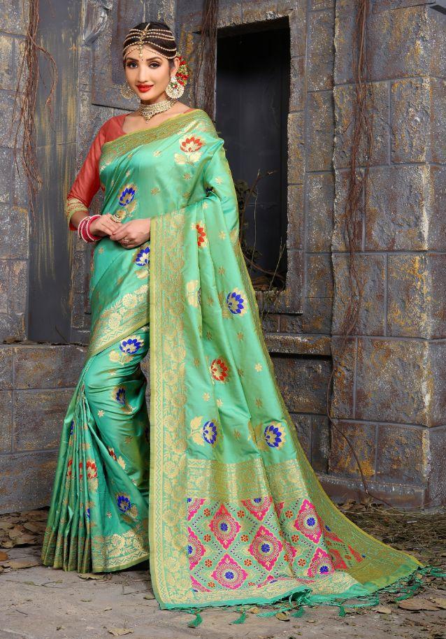 08eac88144 Pure Banarasi Meenakari Work silk saree wholesale catalog supplier in Surat