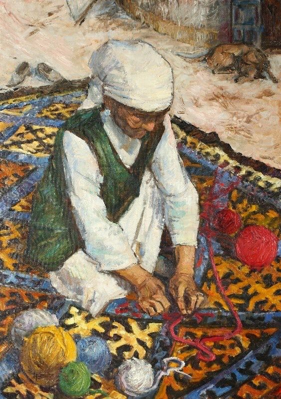 """Kazakh artist Rasul Nasyrov """"Azhe"""", i.e. from Kazakh """"Grandmother"""""""