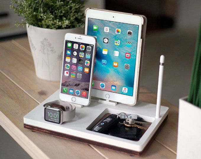 NytStnd TRIO 1 – FREE SHIPPING Charging Station for iPhone Xs Xr 8 iPad Apple Watch 4 Apple Tv Wood Birthday Present