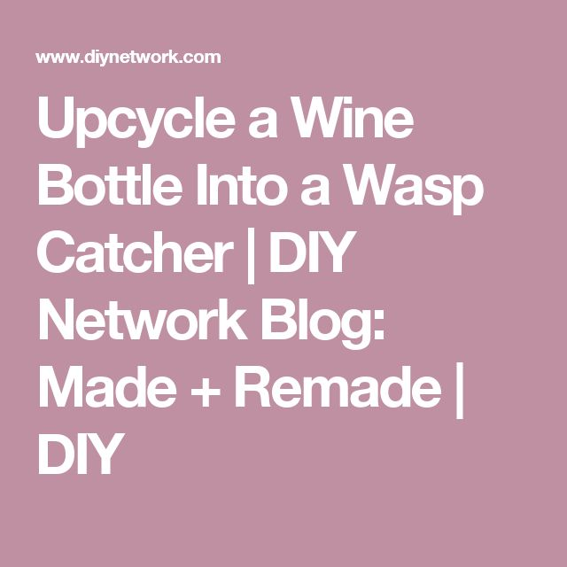 Upcycle a Wine Bottle Into a Wasp Catcher | DIY Network Blog: Made + Remade | DIY