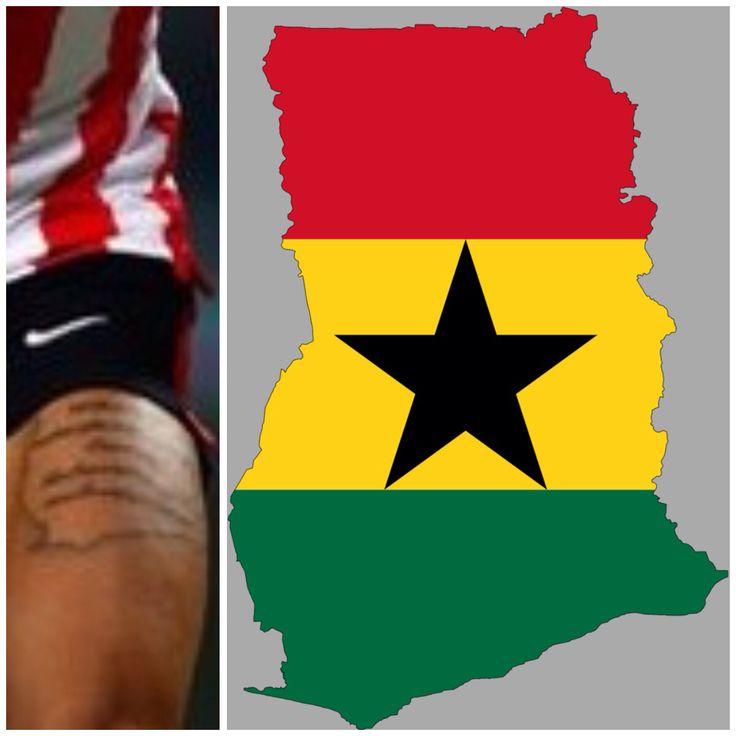 Memphis Depay's Tattoo of Ghana map