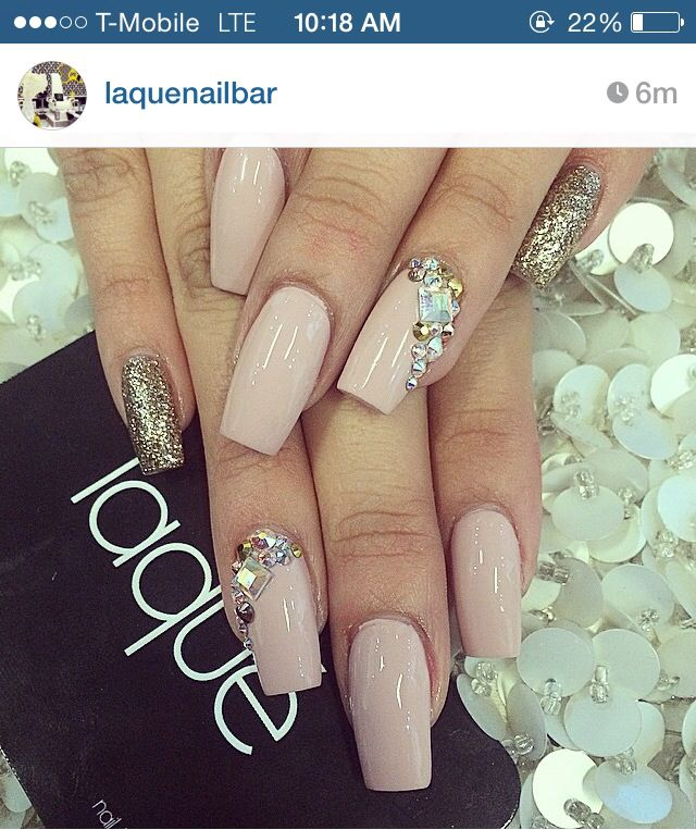 Square shaped nails nude color with gold