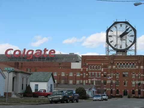 The Colgate Clock, located at a Colgate-Palmolive factory in Clarksville, Indiana, is one of the largest clocks in the world with the diameter of nearly 40 feet