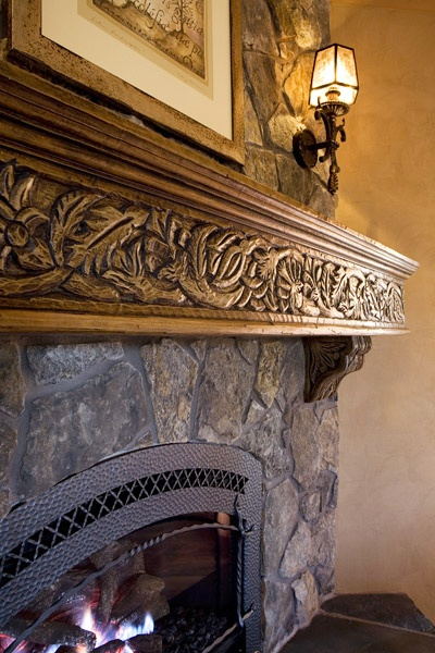 Fireplace Mantle Hand carved in Northern New Mexico