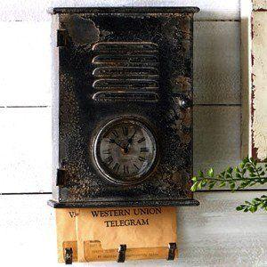 Black Metal Vintage Metal Mailbox With Clock