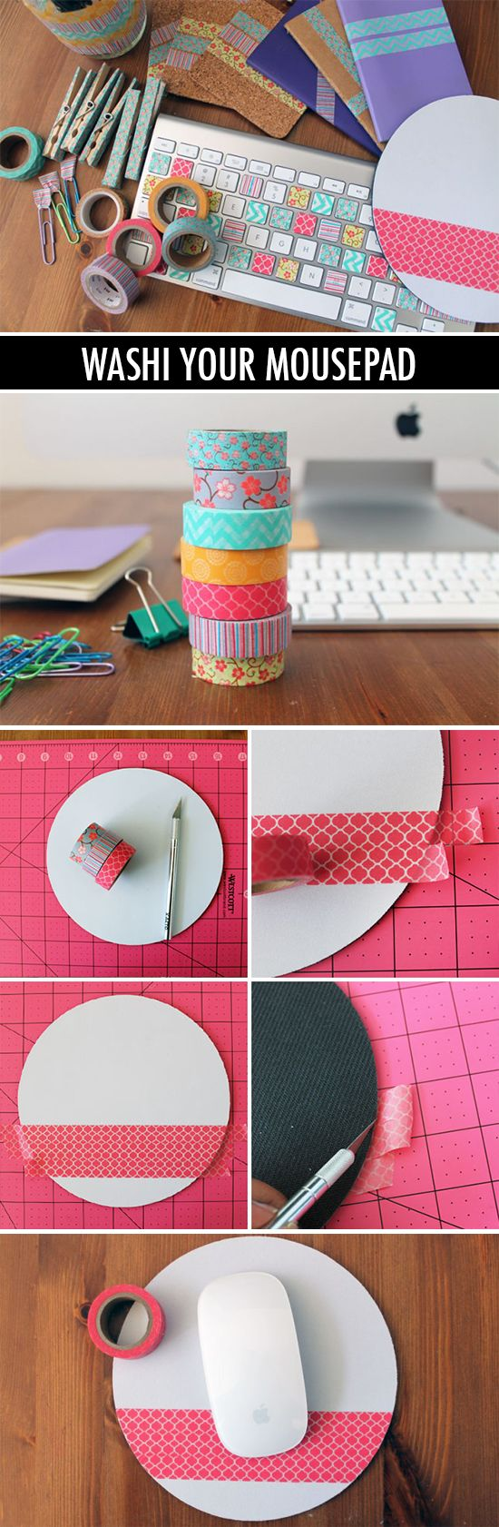 Cutest and easiest DIY project ever! Washi tape your mousepad.
