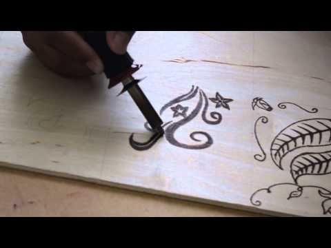 Pirograbado en Madera para Principiantes paso a paso Rosa Flores - YouTube