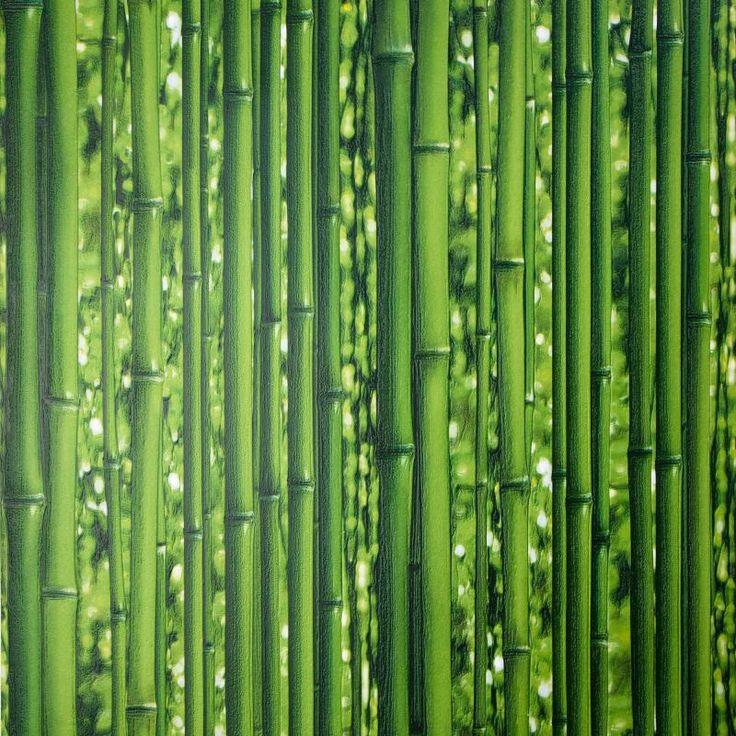 Обои виниловые 0,53х10 м, бамбук, зеленый