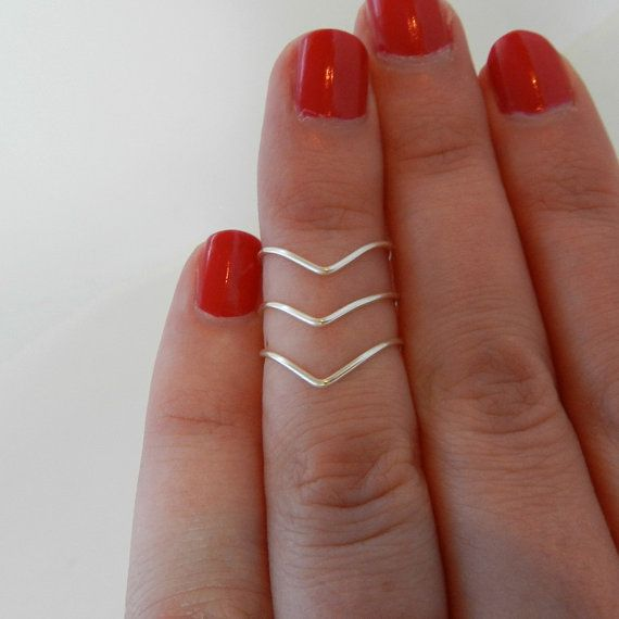 Silver Knuckle Rings, Mid Finger Rings, Midi Rings, Chevron Rings, Set of 3, Adjustable on Etsy, $10.00