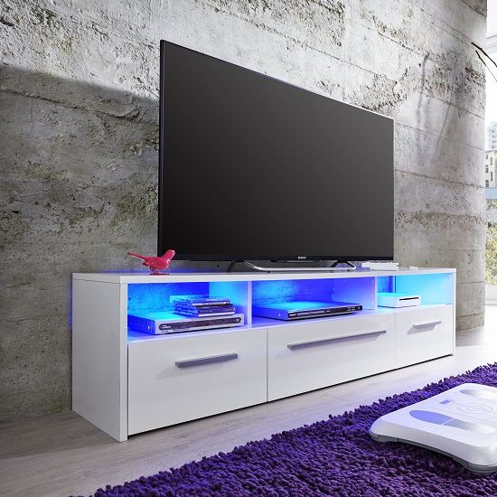 Martin LCD TV Stand In White High Gloss Fronts With 3 Doors And LED Look  Very