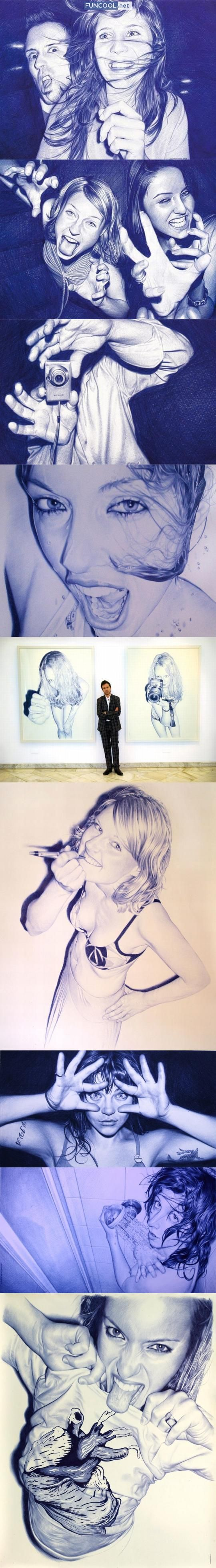 Juan Francisco Casas is a painter who uses a bic pen to create astonishing realistic portraits. Can't believe them!