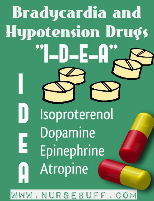 bradycardia and Hypotension drugs nursing mnemonics