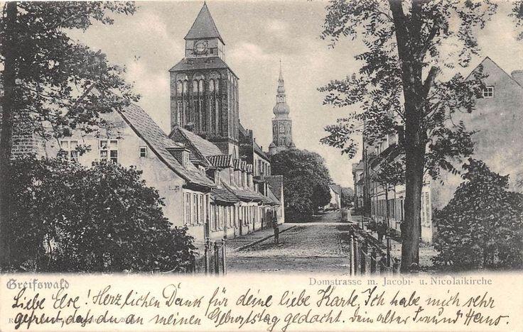 AK Greifswald Domstrasse Jacobi. u. Nicolaikirche Postkarte gel. 1904