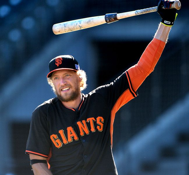 San Francisco Giants outfielder Hunter Pence (8) gets ready for batting practice during a workout at AT&T Park in San Francisco, Calif., on Saturday, Oct. 18, 2014. The Giants will be flying off to Kansas City to play the Royals in Game 1 of the World Series on Tuesday. (Doug Duran/Bay Area News Group)