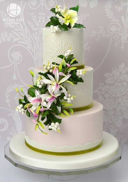 Lace and Orchids - by Hilary Rose Cupcakes @ CakesDecor.com - cake decorating website