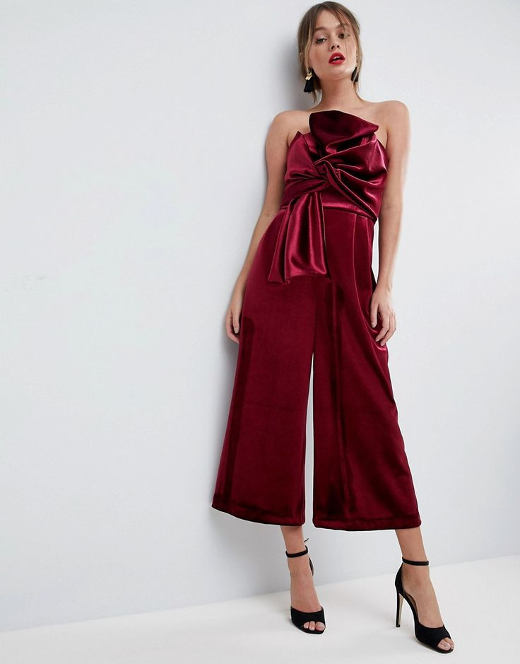 ASOS Jumpsuit with Knot and Drape Detail in Velvet - Purple
