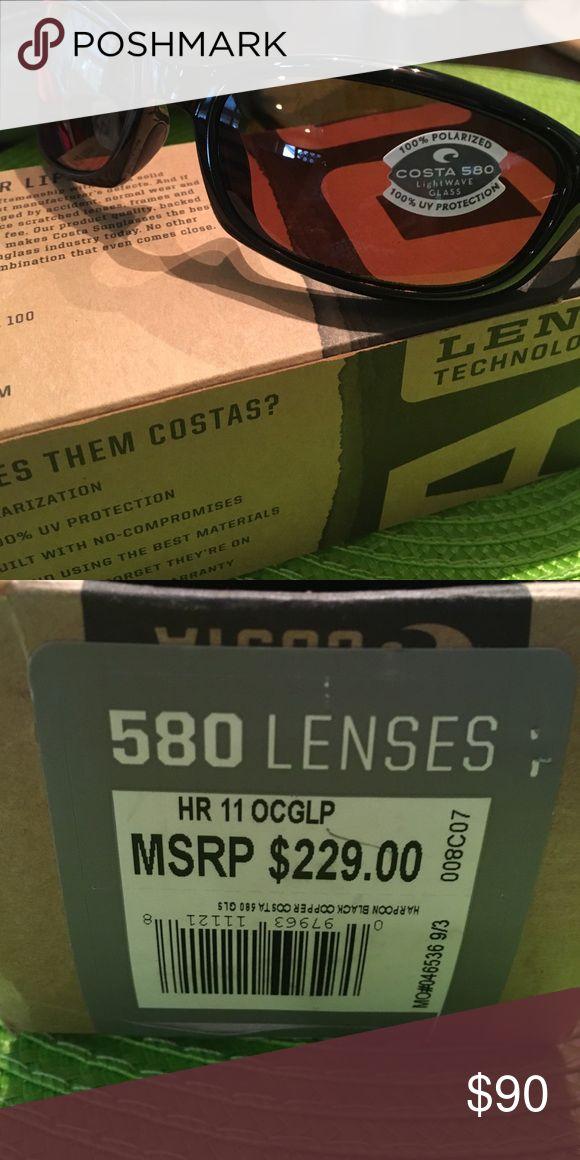 Costa Del Mar Harpoon black Cooper 580 Glass lens Costa Del Mar Harpoon black Cooper 580 Glass lens New In Box Costa Del Mar Accessories Sunglasses