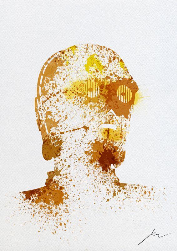 C-3PO | By: Arian Noveir: Arian Noveir, Paintings Splatter, Art Prints, C3Po, Stars War, Splatter Art, Ariannoveir, C 3Po, War Paintings
