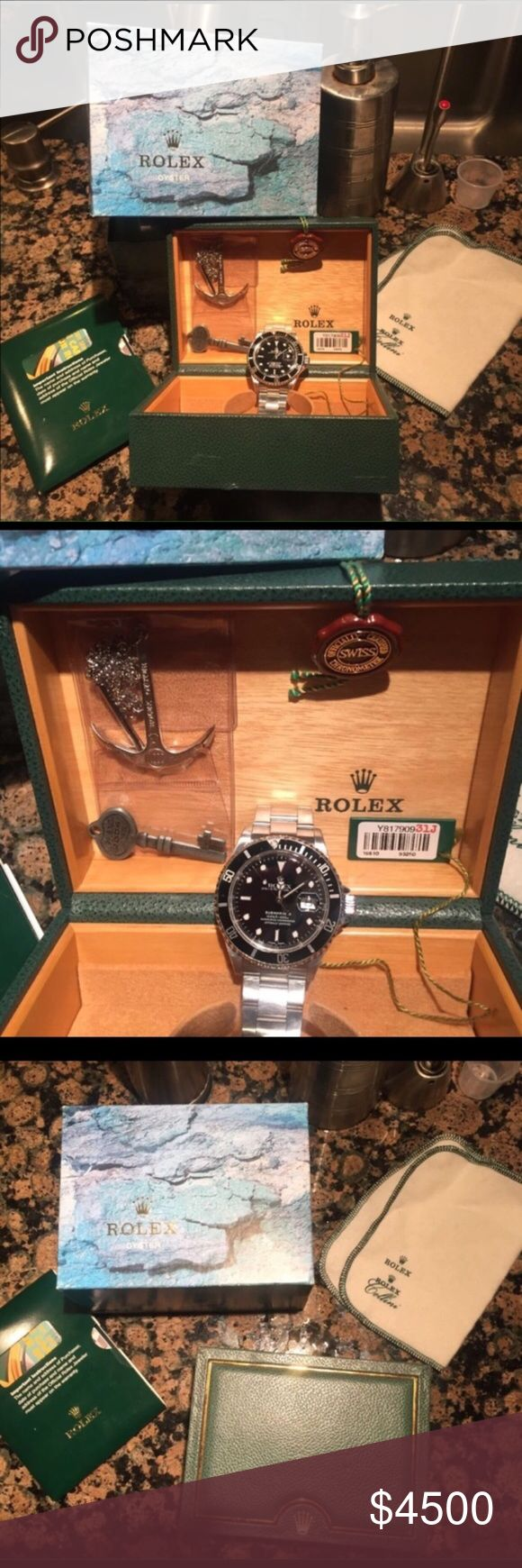 Rolex Submariner Oyster 16610 Exquisite detail. Barely used with all original tags accessories and boxes. Excellent condition, like new any questions contact me at 501-232-8532. Rolex Accessories