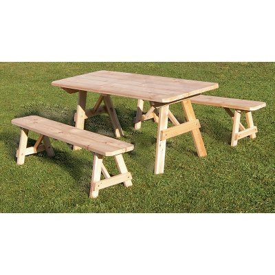 Outdoor A & L Furniture Western Red Cedar Traditional Picnic Table with 2 Side Benches Unfinished - 131C-UNFINISHED-WITHOUT HOLE, Durable