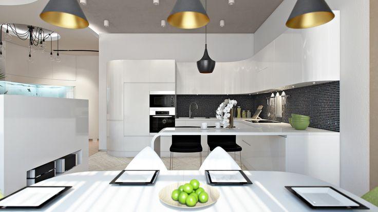 Волна в современной кухне-гостиной - ALNO. Современные кухни: дизайн и эргономика | PINWIN - конкурсы для архитекторов, дизайнеров, декораторов