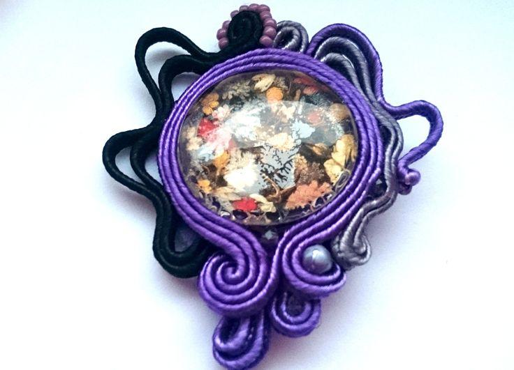 "Brooch soutache Facebook: ""Soutache, beads, Shibori Cristallin, sutasz i koraliki"""