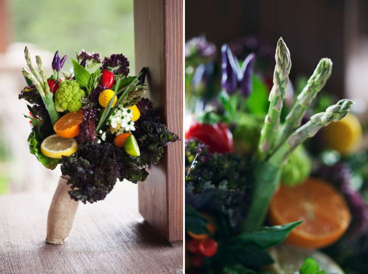 fruit and vegetable farm inspired bouquet