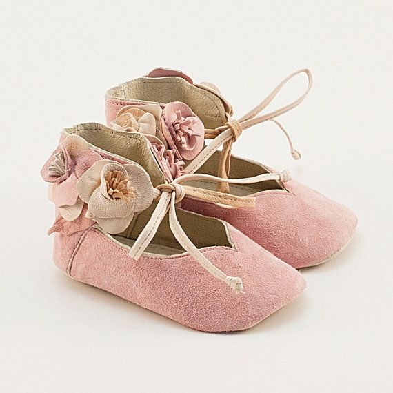 Light pink leather baby shoes with flowers by Vibys on Etsy, $60.00