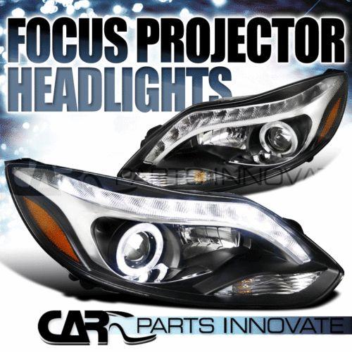 2012-2014-FORD-FOCUS-BLACK-HALO-PROJECTOR-HEADLIGHTS-LED-LIGHT-BAR-DRL