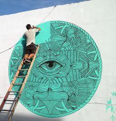 Mural Painting in Wynwood,  Art Basel 2013 Miami - By Joan Tarrago.