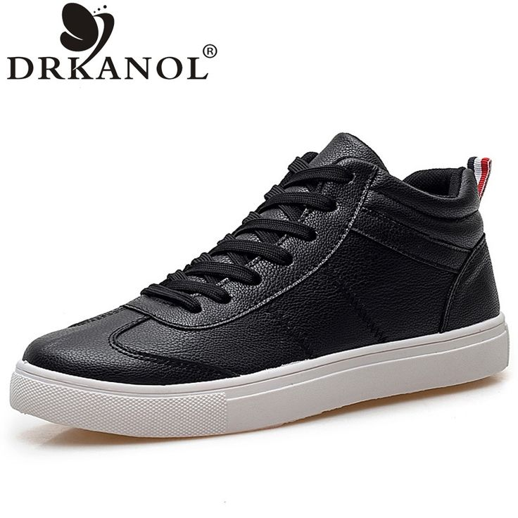 ==> [Free Shipping] Buy Best Fashion black white high top men casual shoes spring autumn lace up flat men shoes zapatos hombre comfortable ankle boots Online with LOWEST Price | 32706369569