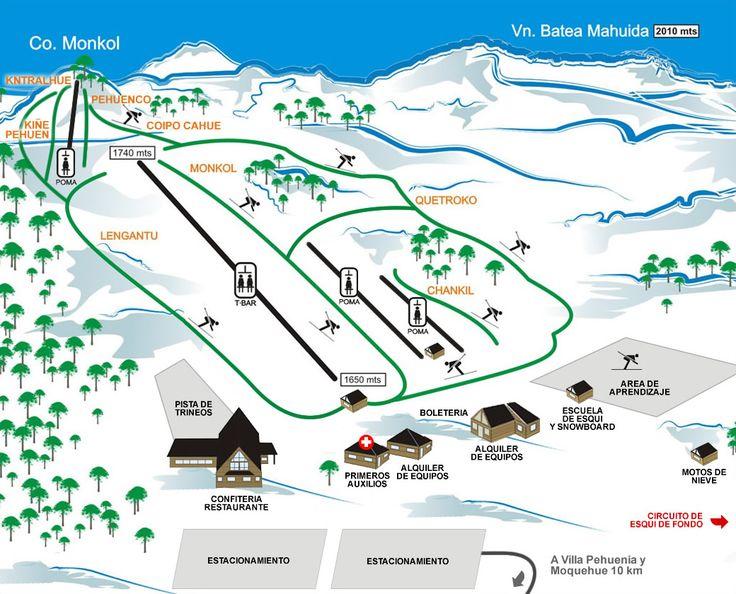 Estaciones de Esquí -Batea Mahuida Mapa