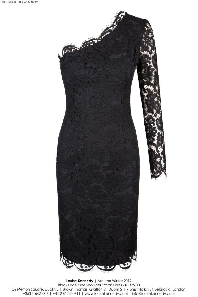 The Louise Kennedy AW12 Zara Black Lace one shouldered dress