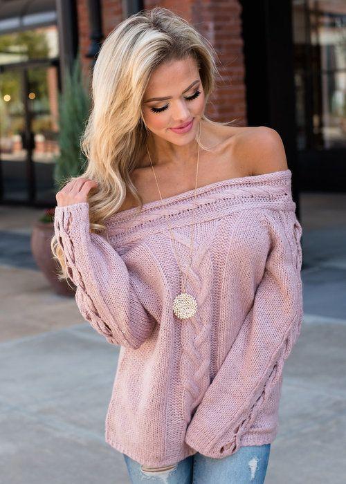 25429b8121 I Want You Off Shoulder Cable Knit Sweater Mauve - Modern Vintage Boutique