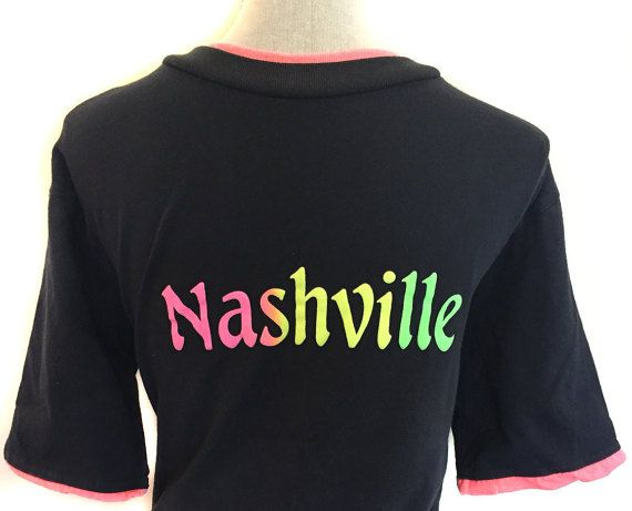 90s Nashville Tennessee Tee Shirt Vintage Neon Colorful Country Music Girl Cowboy USA Titans Volunteers Football America Retro Made In USA