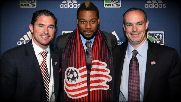 Jay Heaps poses with general manager Michael Burns and Andrew Farrell, the number one pick in the 2013 MLS SuperDraft