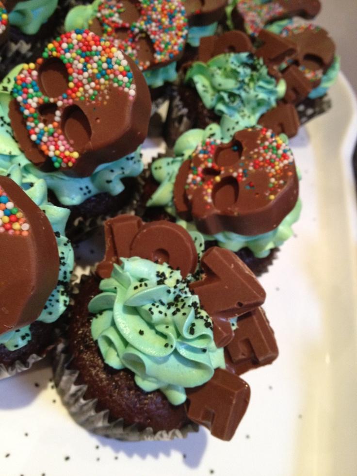 Chocolate sprinkle skull cupcakes