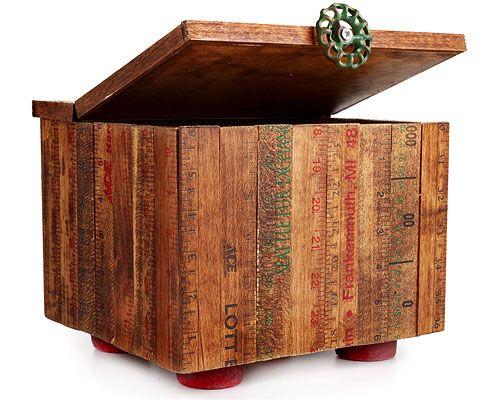 Great RULER BOX   Recycled, Vintage Yardstick Keepsake Box On Roller Skate  Wheels, Handmade By