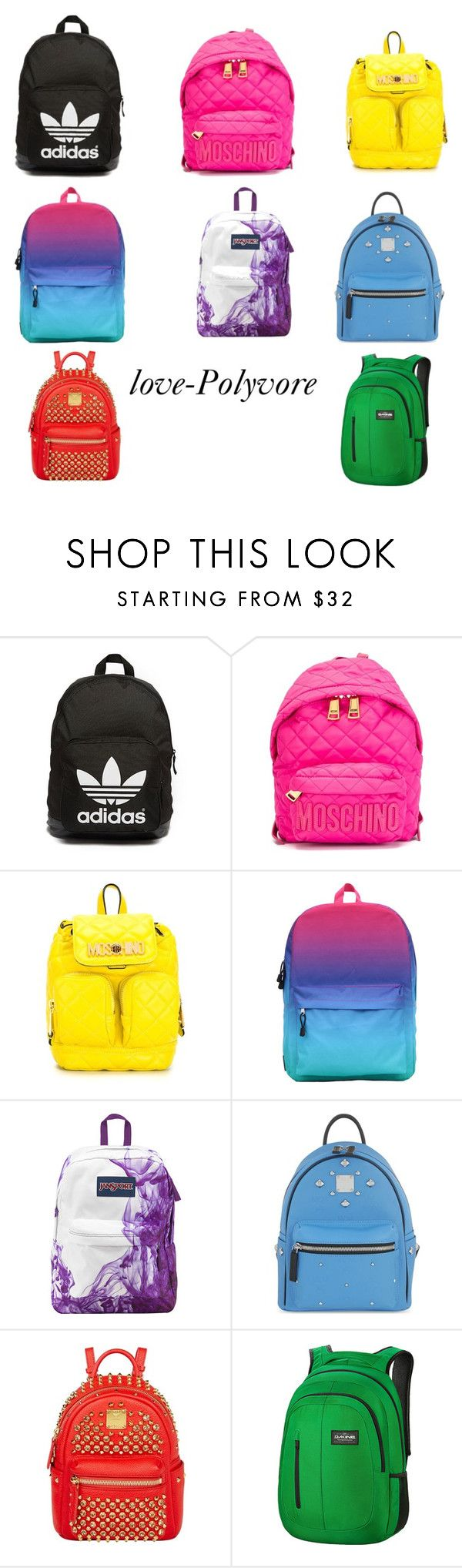 """SchoolBags-Love"" by golden-videos ❤ liked on Polyvore featuring adidas Originals, Moschino, JanSport, MCM and Dakine"