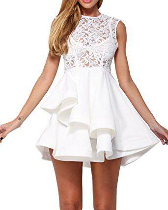 White Round Neck Sleeveless Lace Asymmetric Hem Skater Dress