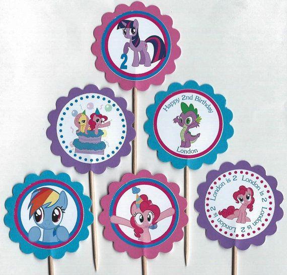 My Little Pony Персонализированные Cupcake Toppers День рождения Декорации для вечеринок набор из 12