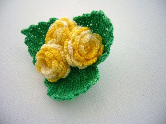 Hand Crochet Anchor Cotton Corsage Brooch Pin by CraftsbySigita on Etsy