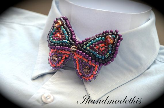 Violet beaded butterfly bow tie beads embroidery by Ihandmadethis