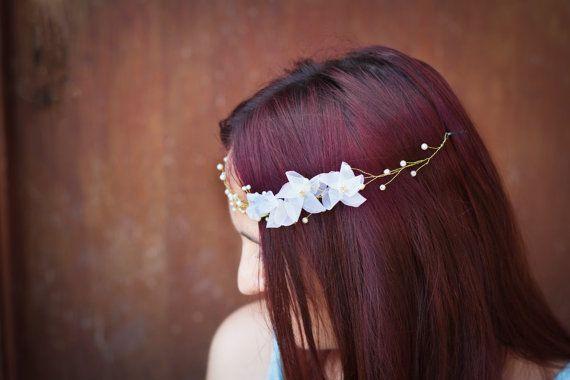 Gold and Ivory Wedding Hair Accessory - Bridal Headband, Hair Vine -Bridal Crown - Beaded Halo, Beaded Headband
