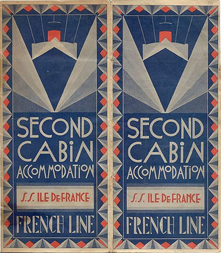 French Art Deco cruise ticket. @Deidré Wallace (colors, fonts, lines)