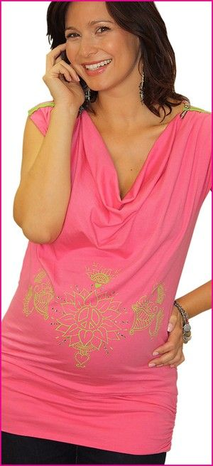 """This lovely LadyMaternity.com  addition is a bump maternity top is inspired by the vibrant colors of India this peace, love & bump hand drawn tee is designed to make you feel stylish & sexy from bump and beyond.    Versatile style. 3"""" band can be pulled down as a sexy tee-dress. fun peace green coil zipper across shoulders allow easy breast-feeding  after your bundle of joy arrives. Yummy soft 50 cotton, 50 modal hugs your bump as your belly grows. our lotus top"""