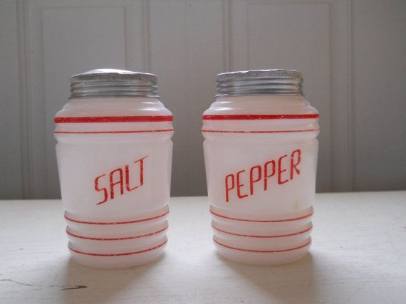 Vintage Red And White Salt And Pepper Shakers 1930s Treasury Item