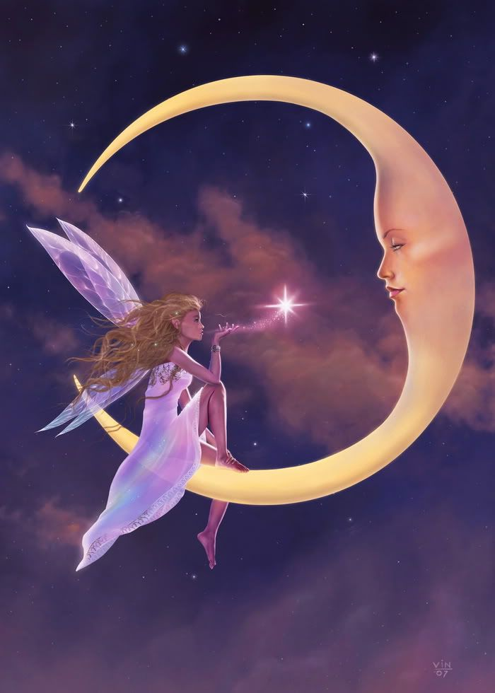 Fairy sitting on a crescent moon blowing kisses.