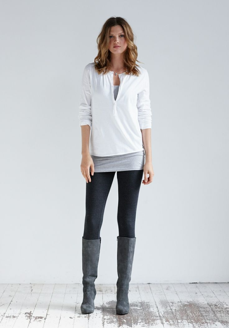 Cotton Henley in White from hush
