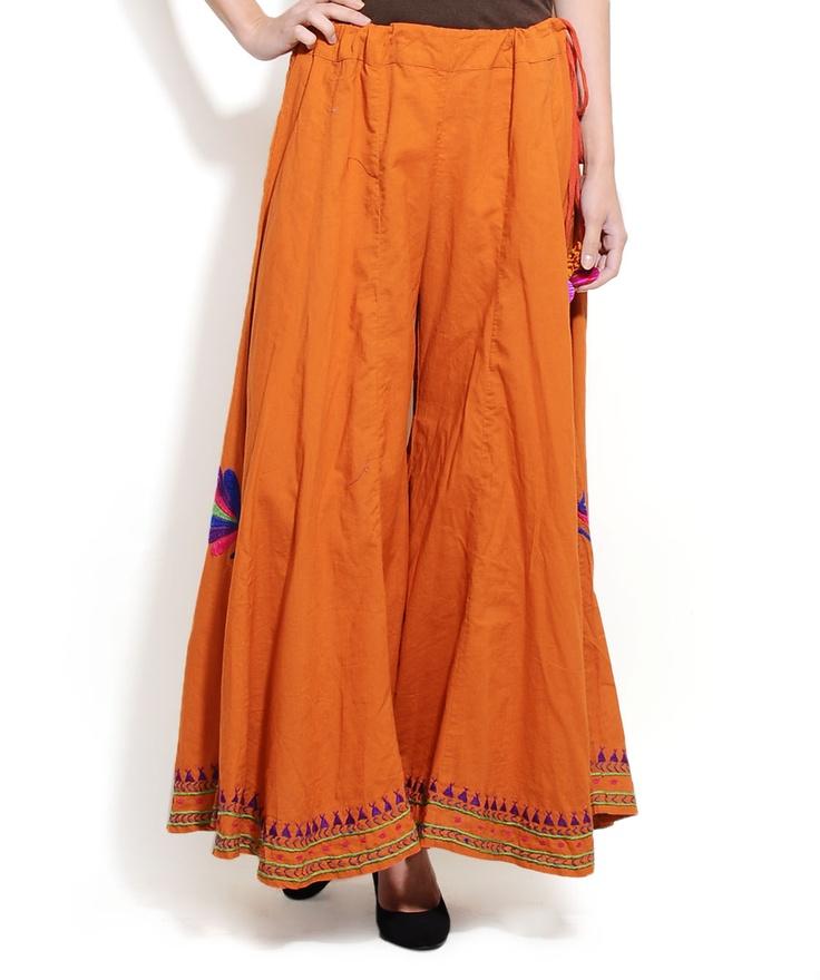 Cotton Orange Palazzo Skirt - O'Layla